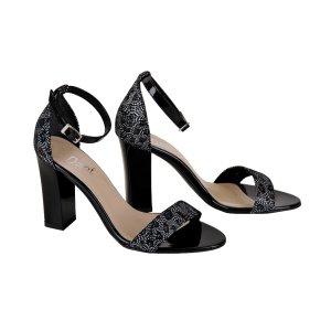 bff205ce25f2 DAPI sandále čierne lak vzor