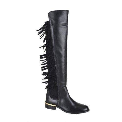 493c540a6511 EXÉ čižmy koža čierne so strapcami