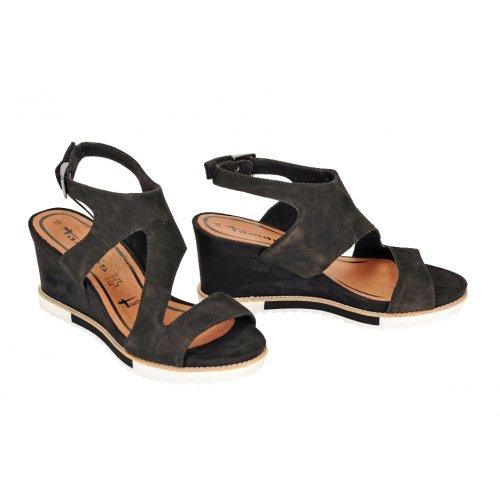 fd5f0a5e32d6 TAMARIS sandále koža nubuk čierne