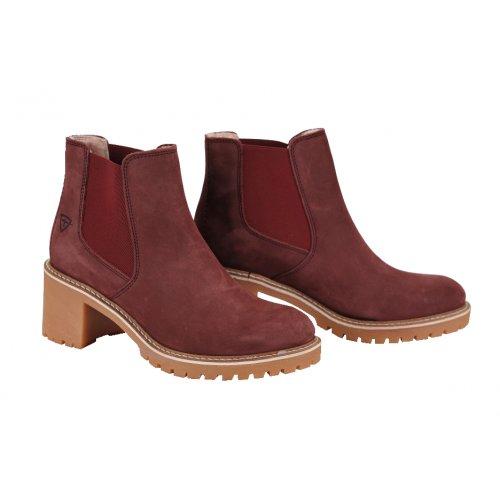 0c740870e TAMARIS členkové čižmy koža nubuk bordó | Kožené topánky