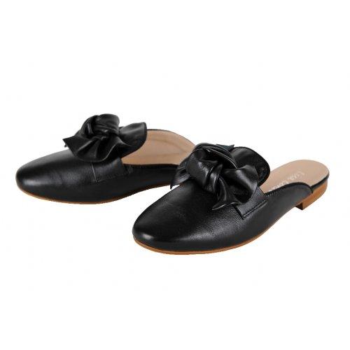 3eceab2a167b9 LISA CONTI šľapky koža čierne s mašľou   Kožené topánky