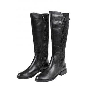 c24ef5472673 TAMARIS čižmy koža hladká   textil streč   čierne