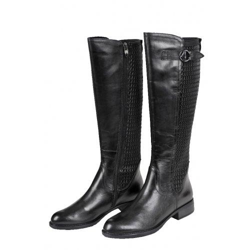 2edfc19b9d443 TAMARIS čižmy koža hladká / textil streč / čierne | Kožené topánky